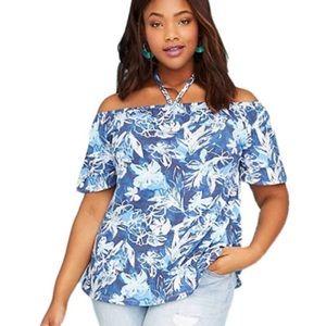 Lane Bryant blue floral off the shoulder top 24